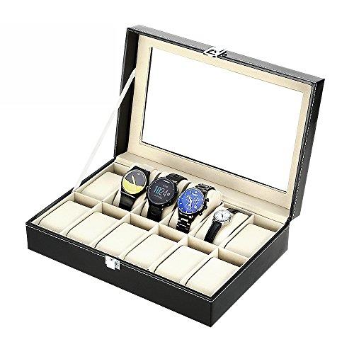 Preisvergleich Produktbild Uhrenkoffer, Uhrenbox Uhrenkasten für 12 Uhren mit Glasfenster aus PU Leder wunderbare Uhrenvitrine und Geschenken (Für 12 Uhren)