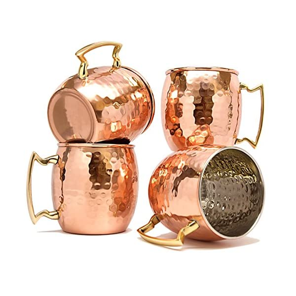 Terashopee (Set of 4) Copper Mug for Moscow Mules 560 Ml / 18 Oz Inside Nickle Hammered Best Quality Lacquered Finish Mule Cup, Moscow Mule Cocktail Cup, Copper Mugs, Cocktail Mugs by TeraShopee 1