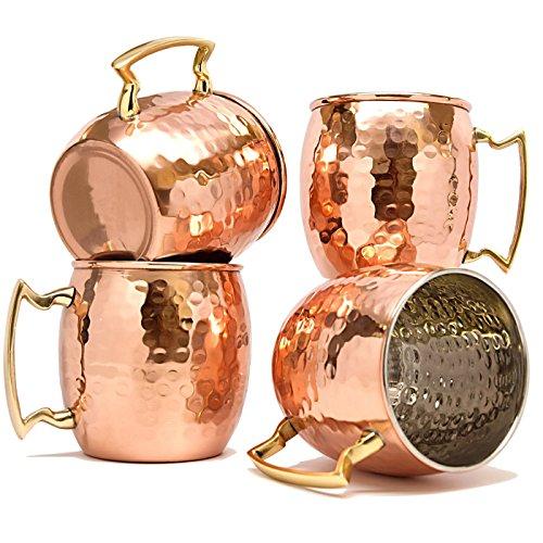 TeraShopee ® Copper Mug for Moscow Mules 560 ML / 18 oz - Set von 4, Innerhalb Nickle Hammered beste Qualität