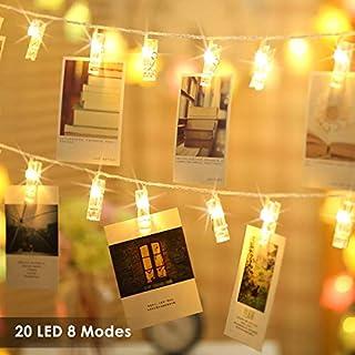 Foto Clips Lichterkette batterie 20 LEDs B-right LED Lichterkette warmweiß, Lichterkette Batteriebetrieben, Lichterkette wäscheklammern Wanddekoration für Hängendes Gemälde Bilder in Weihnachten