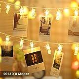 Foto Clips Lichterkette batterie 20 LEDs B-right LED Lichterkette warmweiß, Lichterkette Batteriebetrieben, Lichterkette wäscheklammern Wanddekoration für Hängendes Gemälde Bilder in Weihnachten -