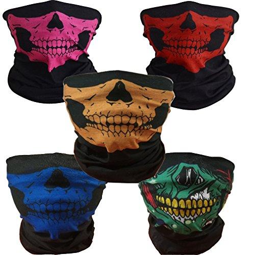 ToBe-U Seamless multifunzione Maschera di tubo del cranio a metà funzione per Halloween RPBGY
