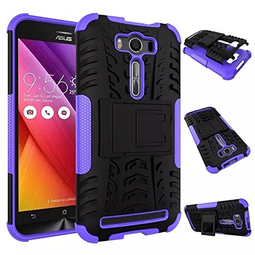 YHUISEN Hyun Pattern Dual Layer Hybrid Armor Case Abnehmbar Kickstand 2 In 1 Shockproof Tough Rugged Case Cover für Asus Zenfone 2 Laser ZE500KL (5,0 Zoll) ( Color : Orange ) Purple