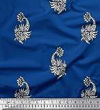 Soimoi Blau Seide Stoff Blumen- Block Stoff Meterware 42