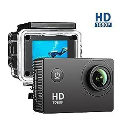 VicTsing 2,0 Zoll Action Kamera, Sports Action Camera 12MP Full HD 1080p Action Cam Wasserdichte Action Kamera Helmkamera mit Zubehör Kits