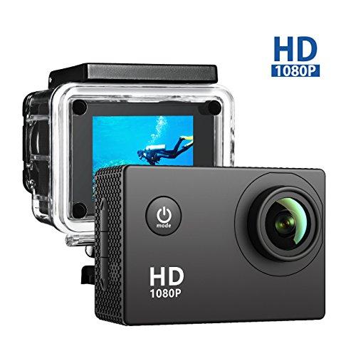 VicTsing 1080P FHD Action Kamera mit 5,1cm HD Display, 170° Weitwinkelobjektiv, 2MP wasserdichte Sport Action Kamera + Sport Kamera Zubehör Kits–Schwarz