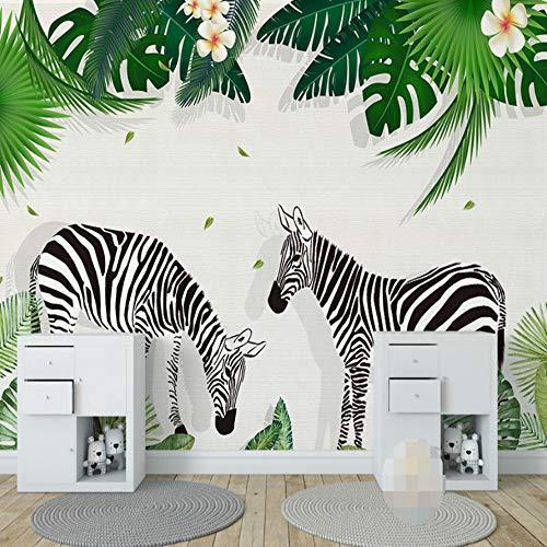 VVNASD 3D Wandbilder Aufkleber Tapete Dekorationen Wand Kinderzimmer Kreativer Zebra Grün Baum Blatt Kinderschlafzimmer Dekor Aufkleber Kunst Mädchen Schlafzimmer (W) 250X(H) 175Cm