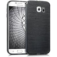 kwmobile Hülle für Samsung Galaxy S6 / S6 Duos - TPU Silikon Backcover Case Handy Schutzhülle - Cover Brushed Aluminium Design Anthrazit Transparent