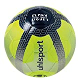 Uhlsport Elysia Replica Ballon de Football Mixte Adulte, Jaune Fluo/Bleu Marine/Argent -