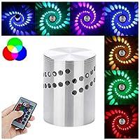 Staron - Bombilla LED RGB con agujero en espiral para pared, control remoto, colorido, RGB, agujero en espiral, lámpara de luz, tira de luz, instalación de superficie de luces LED, 3 cintas ópticas