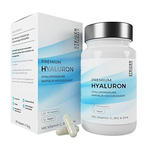 Hyaluronsäure Kapseln – Hochdosiert mit 350 mg. 90 Stück (3 Monate). Mit Vitamin C, B12 und...