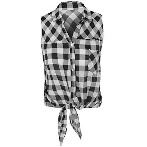 Damen Kariertes Hemd Lumberjack ärmellos Knot Tie bauchfreies Top bluse-größe - Schwarz / Weiß, Medium - EU 38 (Schwarze Bluse Ärmellose)