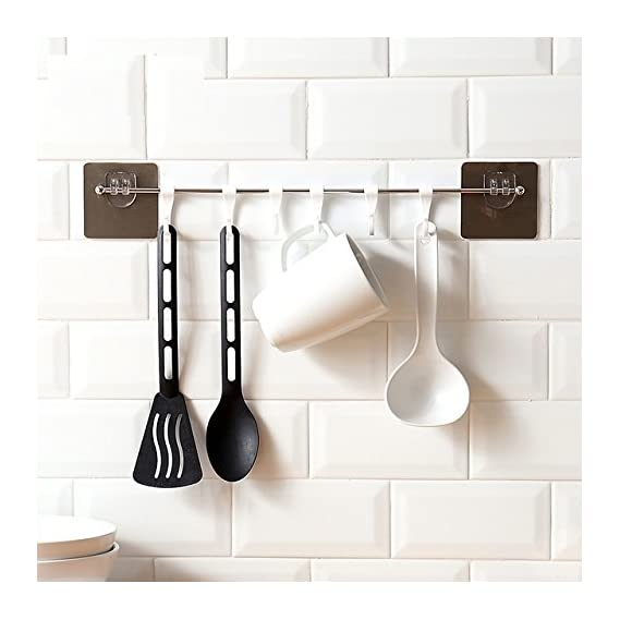 GETKO WITH DEVICE Self Adhesive Stainless Steel Wall Hanging 6 Hook Rack for Bathroom Kitchen Towel Multi Hanger, Bedroom Clothing Hanger(Silver)