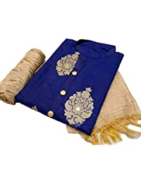 Skyblue Fashion Blue Chanderi cotton Embroidered Dress Material for women