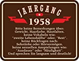 Original RAHMENLOS® Blechschild zum 60. Geburtstag: Jahrgang 1958