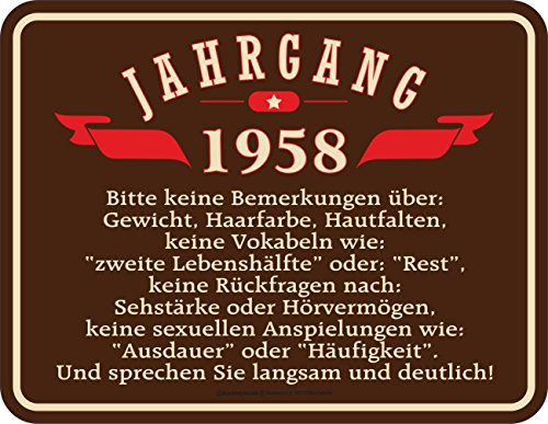RAHMENLOS Original Blechschild zum 60. Geburtstag: Jahrgang 1958