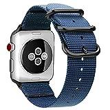 Fintie Armband für Apple Watch 44mm 42mm Series 4/3/2/1 - Premium Nylon atmungsaktive Sport Uhrenarmband verstellbares Ersatzband mit Edelstahlschnallen, Marineblau