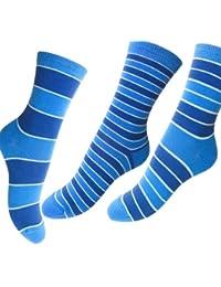 Loonysocks, 3 Paires de Chaussettes à Haute Teneur en Coton Coloré, Mélange de Bleu, Pour Dames / Dames et Fillettes