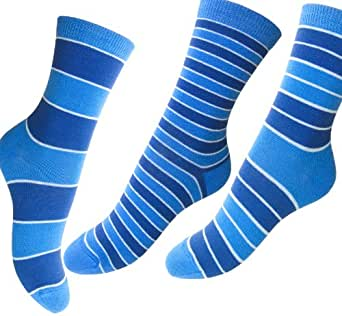 Loonysocks, 3 Pair of Colorful Cotton Rich Women/ Ladies & Girls Mixed Blue Socks UK Size 3-6 EU 35/39