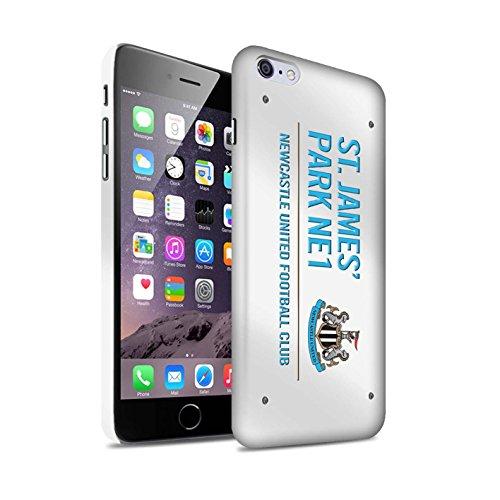 Offiziell Newcastle United FC Hülle / Matte Snap-On Case für Apple iPhone 6+/Plus 5.5 / Schwarz/Weiß Muster / St James Park Zeichen Kollektion Weiß/Blau