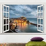 TIE Village de pêche Amovible Vue de Nuit Autocollant Mural à 3 vitres, 60x90 cm, 40 * 60
