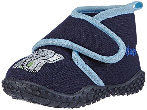 Playshoes Kinder Hausschuhe mit praktischem Klettverschluss, niedliche Hüttenschuhe für Mädchen und Jungen, mit Elefant-Motiv,Blau (Original 900),22/23 EU
