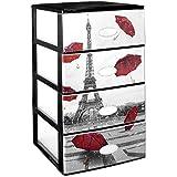 Gran plástico apilable Set de 4cajones con cristal frontal decorado París, Negro, Juego de 21