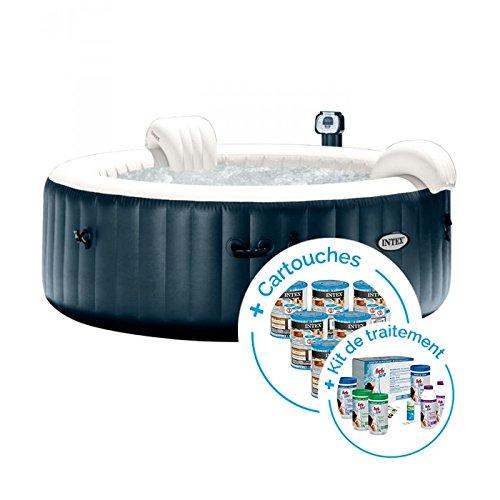 INTEX Spa Gonflable PureSpa Plus Bulles 6 Places + 12 Cartouches + Kit de Traitement au Brome