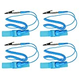 TOOHUI 4 Pack Anti-Static Wrist Strap, Anti-Static Bracelet Discharge Band, ESD Wrist Strap, Reusable Anti-Static Wrist Straps Band with Grounding Wire and Alligator Clip, Blue