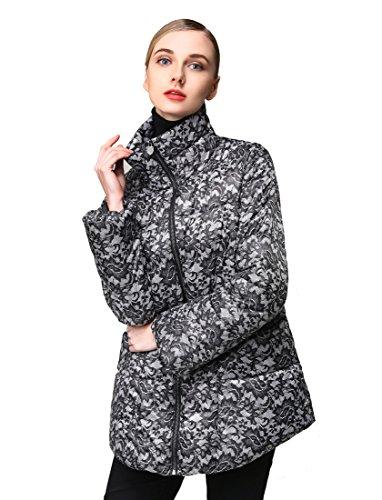 Hoffen Damen Casual gepolsterte Grafik Daunenmantel Jacke (Medium)