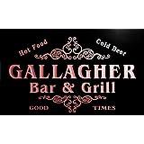 u15804-r GALLAGHER Family Name Gift Bar & Grill Home Beer Neon Light Sign Barlicht Neonlicht Lichtwerbung