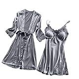 Lingerie Femme Sexy Erotique,LianMengMVP Femme Robe de Chambre Chemise de Nuit en Satin Nuisette Lingerie Pyjama Peignoir Robe de Nuit Grande Taille S-3XL