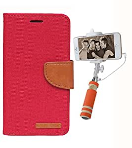 Aart Fancy Wallet Dairy Jeans Flip Case Cover for Micromax-Q372 (Red) + Mini Fashionable Selfie Stick Compatible for all Mobiles Phones By Aart Store