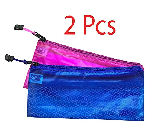 SEPAL Zipper Pouch,2 Pieces Travel Zipper Pouch - Heavy-duty plastic reinforced with threads - Mesh Bag With Zipper Best for Organize Supplies,medication,Cosmetics,ID,Passport size photo,pen-pencil,Travel Accessories (23.5cm x 11cm)