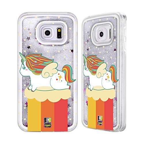 Head Case Designs Printemps Licornes Fantaisistes Collection Potelée Étui Coque Liquide Scintillez Argent pour Apple iPhone 5c Printemps