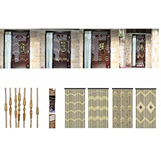 AQS INTERNATIONAL AQS Bamboo Door Beaded Curtain Screen Insect Blind Fly Bug Wooden Assorted Design