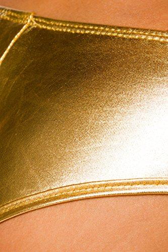 HO-Ersoka Metallic Panty glänzend , Shiny Hotpant Gogo Style Gold