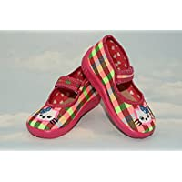Slippers,Toddlers, Girls,Velcro, Snap, Laced shoes, Multicoloured, Lovely colours,Countured Footbed,Delicately stiffened, Natural material,Anti-skidding, UK size 2, 3, 4, 5, 6, 7 Rainbow Kitten (3)