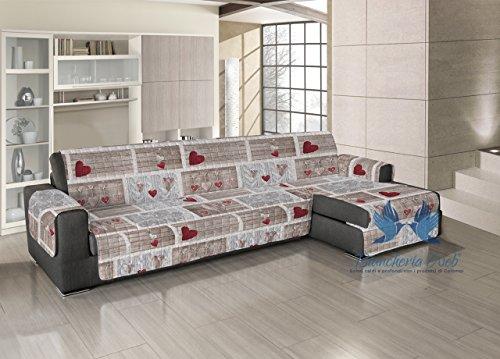 Copridivano trapuntato per divani con penisola disegno shabby love 190-195 cm rosso