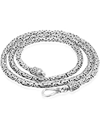 "Women's Men's 925 Sterling Silver Bali Byzantine Oxidised Chain Necklace 3 mm Thick 18"" 20"" 24"" inches Long"