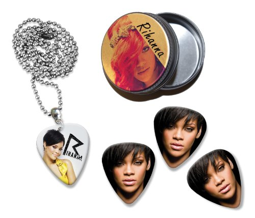 Rihanna Collection With 3 Double Sided Loose Gitarre Plektrum Plektron Picks & Kette in Tin