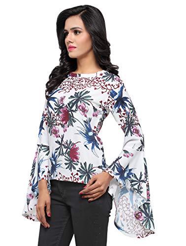 Serein Women's Crepe Digital Print Floral Top with Bell Sleeves (White, Medium)