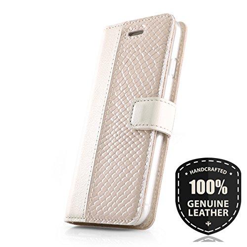 SURAZO Premium Vintage Ledertasche Schutzhülle Wallet Case aus Echtesleder Pastelleder Farbe Porzellan/Iguana für Lenovo/Motorola Moto G5 Plus