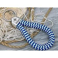 MOIN - Schlüsselanhänger Schlaufe - blau weiß zickzack- handgetüdelt in Hamburg - maritimes Geschenk, für einen Umzug nach Norddeutschland oder an die Küste