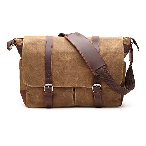 Messenger Bag H-ANDYBAG Waxed Canvas Herren Umhängetasche Passt 15 Zoll Laptop (Khaki) (Retro Messenger Bag Canvas)