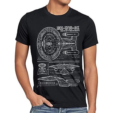 style3 NC-1701-D Cianotipo Camiseta para hombre T-Shirt fotocalco azul trek trekkie star