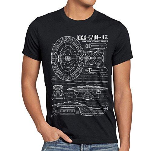 style3 NCC-1701-D Cianografia T-Shirt da uomo trek trekkie star , Dimensione:L;Colore:Nero