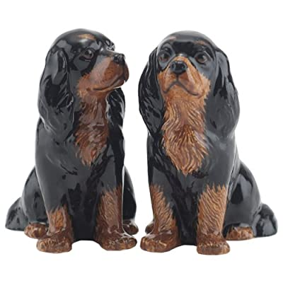 Quail Ceramics - Black & Tan Cavalier King Charles Spaniel Salt And Pepper Pots from Quail Ceramics