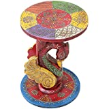 APKAMART Handcrafted Wooden Corner Side Stool - 16 inch - Corner End Table for Home Decor, Room Decor and Gifts