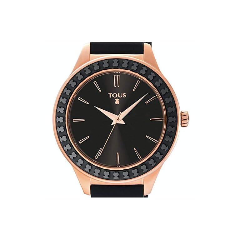 TOUS-Reloj-Straight-Ceramic-de-acero-IP-rosado-y-bisel-de-cermica-con-correa-de-silicona-negra-Ref900350365